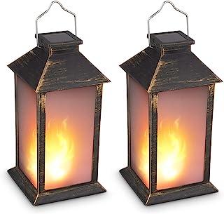 "13"" Vintage Style Solar Powered Candle Lantern(Metallic Coating Black,Plastic),Solar Garden Light with Vivid Fire Effect,Outdoor Solar Hanging Lantern,Decorative Candle Lanterns ZKEE (Set of 2)"