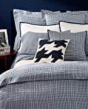 Ralph Lauren Screening Room Mattea Houndstooth Queen Deep Fitted Sheet Similar to Glen Plaid - Navy Blue/Cream