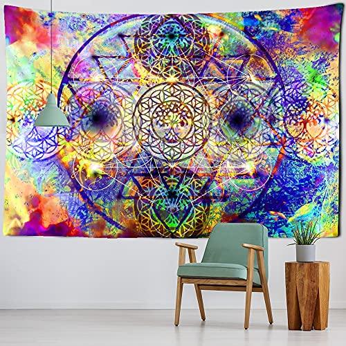 KHKJ India Mandala Tapiz Colgante de Pared Bohemia psicodélico Hippie Noche Luna Alfombra Arte habitación decoración Familiar A1 230x180cm