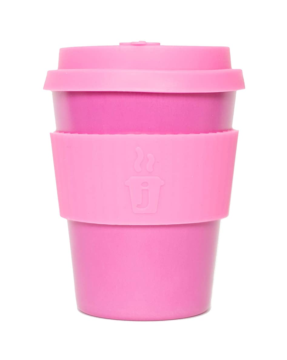Joe Cup Premium Organic Reusable Bamboo Coffee Cup, Coffee Mug with Quick Seal Spill Stopper (Pink, 12 oz)