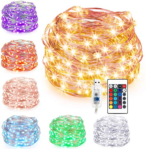 KOHREE 10M 100 LEDs Bunte Lichterkette Außen, Silberdraht LED Lichterschlauch Bunt, Lichterkette Farbwechsel mit Fernbedienung & Timer, 16 Farben für Innen, Außen, Weihnachtsbaum, Garten, Party, Deko