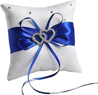 Royal Blue Ring Bearer Pillow wCharms Wedding Horizon Lapis Cobalt Midnight Glitter Blue Ring Bearer Pillow Disney Wedding Blue Ring Pillow