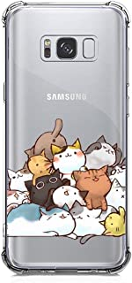 Galaxy S8 Plus Case Ultra Crystal Clear with Cute Cat Design Shockproof Bumper Protective Case for Samsung Galaxy S8+ Kitty Flexible Silicone Rubber Slim Fit Funny Cell Phone Back Cover