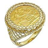 Theia Bague 9ct Or jaune et diamant, Plein Souveraine 22ct - Taille 56