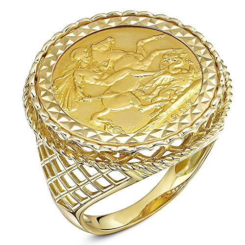 Theia Men's 9 ct Yellow Gold Diamond Cut Patterned Set with 22 ct Full Sovereign Coin Ring, Size Z