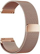 Milanese Loop 20mm for Samsung Galaxy Watch 42mm, Samsung Galaxy Watch Active, Samsung Gear Sport, Samsung Gear S4 / S2, Stainless Steel Replacement Watch Band 20mm (Pink Gold)