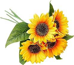 1 Bosjes (5 Stokjes) Kunstmatige Zonnebloemboeketten, Kunstbloemen met Stengels, Geel Nep Bloemen voor Bruids Bruiloft Hom...