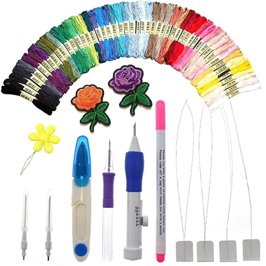 AROYEL Magic Embroidery Pen Punch Needle Full Set,Punch Needle Set Magic Embroidery Pen with 50 Colors Threads&Embroidery Tools, Cross Stitch Tool Kit