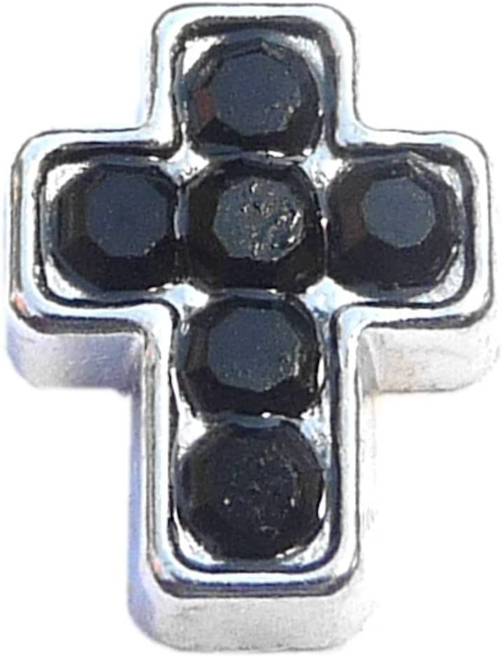 Cross Outlet SALE Black Accents NEW before selling ☆ Charm Locket Floating