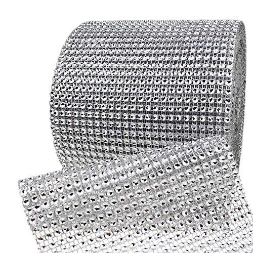 Bling Rhinestone Diamond Mesh Ribbon Wrap,Storystore Silver Acrylic Bling Diamond Wrap Ribbon for Wedding, Cake, Vase Decorations, Party Supplies (30Ft)