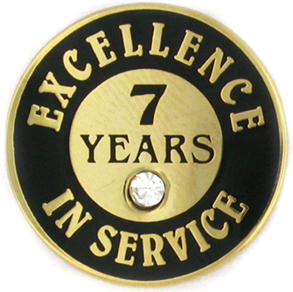 PinMart Gold Plated Excellence in Service 7 Year Award Lapel Pin