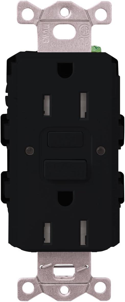 Lutron NEW supreme CAR-15-GFST-BL Claro 15-Amp Self-Testing Receptacle Blac