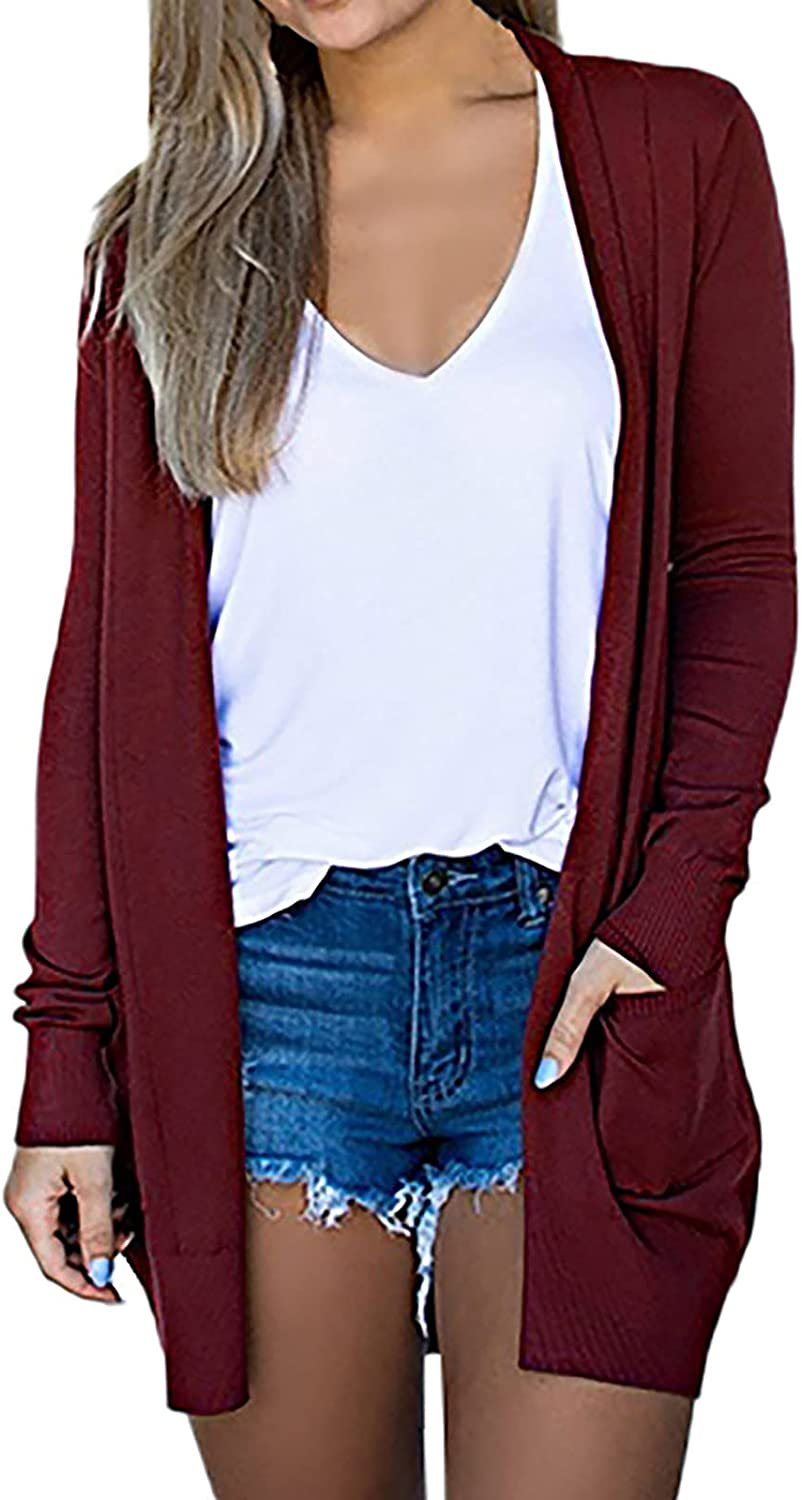 Women's Cardigan Lightweight Long Sleeve Shirts Plus Size Loose Outwear Solid Color Pocket Coats Tops