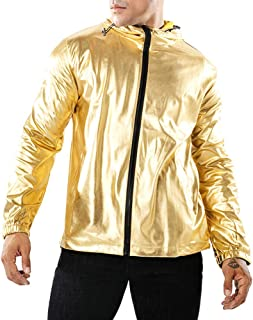 Men's Fashion Metallic Jackets Baseball Coats Night Club Tops