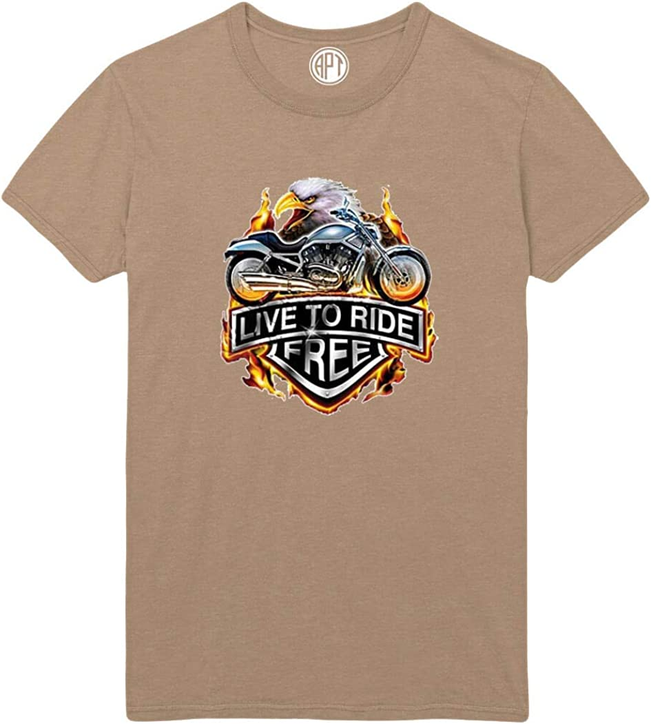 Live to Ride Free Motorcycle Eagle Printed T-Shirt