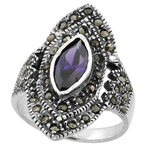Sterling Silver Marcasite Diamond-Shaped Ring, w/Marquise Cut Amethyst CZ, 1 inch (25 mm) Wide, Size 7