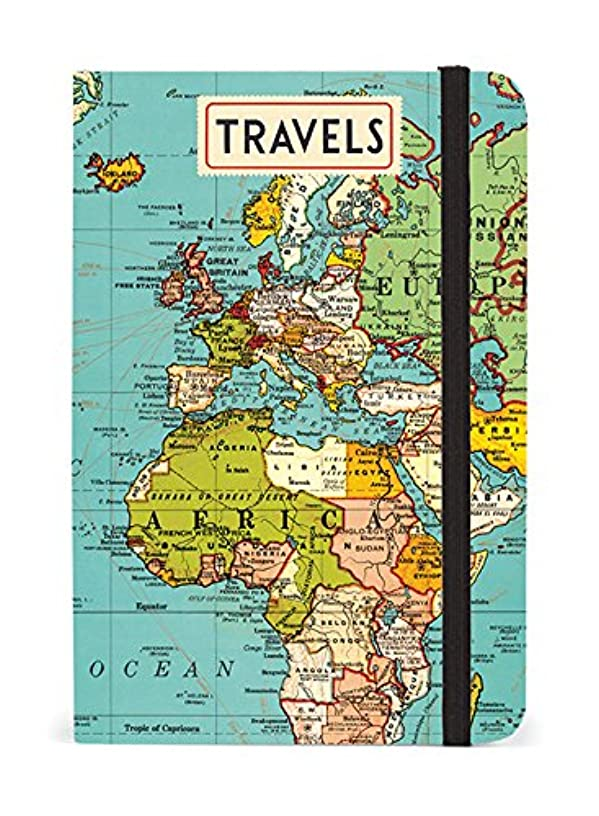 Cavallini Papers & Co. Notebook Vintage Map 256 Pages Featuring Classic Cream Lined Paper Stock, 4 x 6