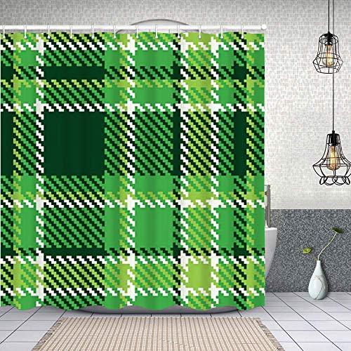 Cortina de Baño con 12 Ganchos,Mosaico de Azulejos británicos irlandeses anticuados a Cuadros en Colores Verdes Vibrantes Esmeralda,Cortina Ducha Tela Resistente al Agua para baño,bañera 150X180cm