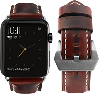 top4cus Compatible with Apple Watch 38mm 42mm 40mm 44mm Genuine Leather Strap Series 4 Series 3 Band for Men and Women (42mm/44mm, Unique Brown)