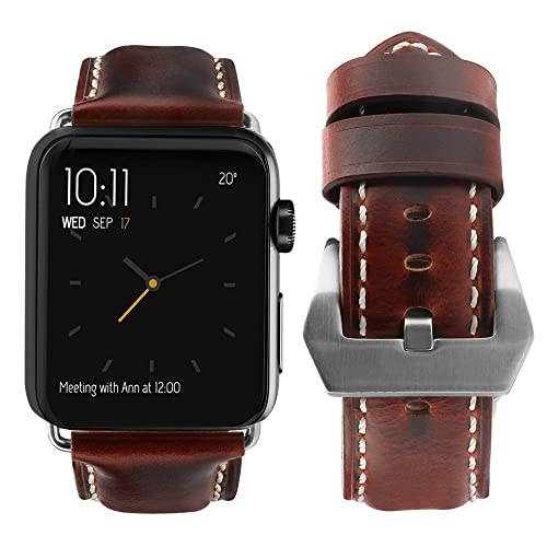 eae0cf5b4 top4cus Compatible with Apple Watch 38mm 42mm 40mm 44mm Genuine Leather  Strap Series 4 Series 3