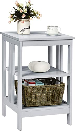 lowest Giantex Nightstand 2021 3-Tier Sofa Side Table W/Reinforced Bars and discount Stable Structure Multifunctional Storage Stand for Bedroom, Living Room, Hallway End Table (1, Gray) outlet sale