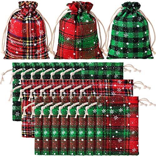 Christmas Cotton Bag Buffalo Plaid Drawstring Bag Christmas Snowflake Cotton Wrapping Bag for Christmas Party Wedding Supplies (24 Pieces,5.5 x 3.9 Inches)