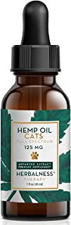 Hemp Oil for Cats and Cats (125mg) - Organically Grown & Made in USA - Pet Relief Formula Relieves Anxiety, Supports Hip & Joint Health, Naturally Relieves Pain, Herbal Supplement Brown
