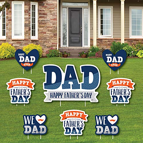 Big Dot of Happiness Happy Father's Day - Yard Sign and Outdoor Lawn Decorations - We Love Dad Party Yard Signs - Set of 8