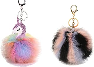 Cute Pom Pom Fluffy Keychain Keyring for Car Key Handbag Backpack Cellphone Purse Decoration,2 in a Package
