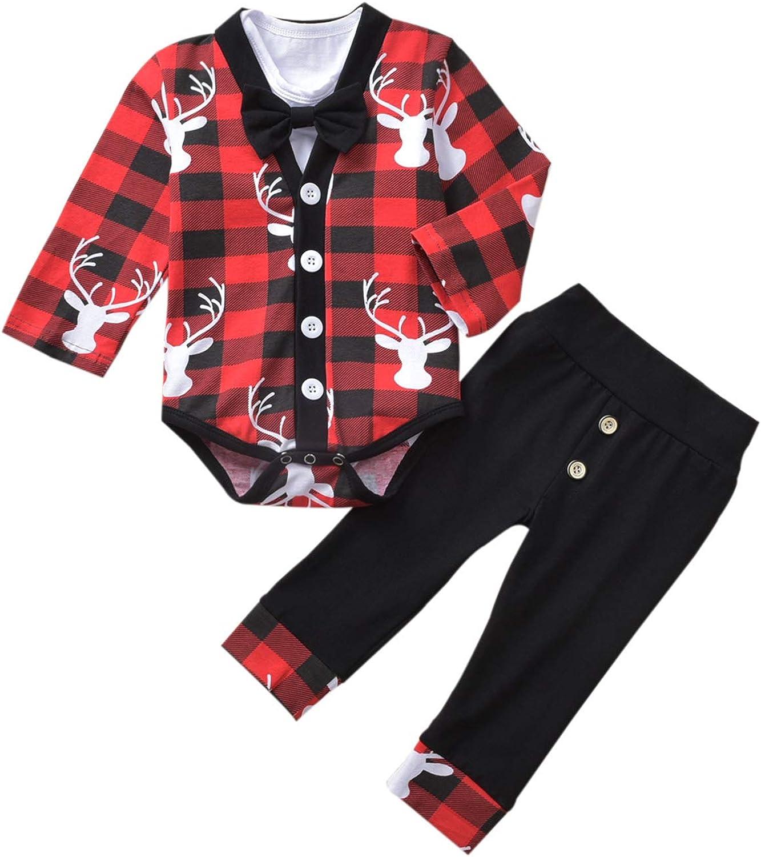 Baby Boys Christmas Outfits, Newborn Gentlemen Bodysuit Onesies Little Jacket Pants Winter Xmas Clothes 3Pcs
