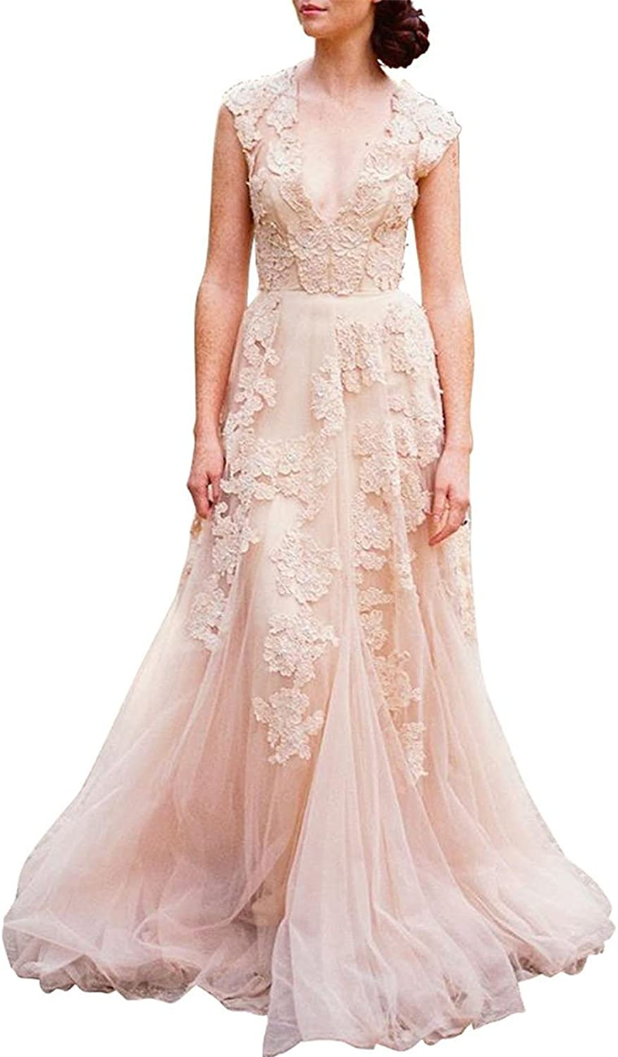 Cdress Women's Vintage Lace Wedding Dress Cap Sleeve Tulle A Line Bridal Evening Gown