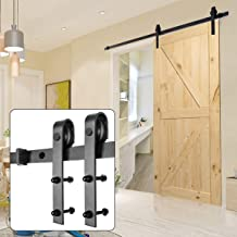 U-MAX 8 FT Heavy Duty Sturdy Sliding Barn Door Hardware Kit, J Shape Hangers, Super Smoothly and Quietly, Simple and Easy to Install, Fit 42-48
