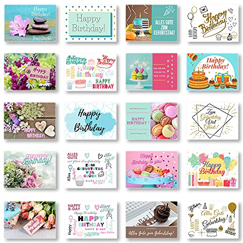 Domelo Geburtstagskarten 20er Set mit Umschlag, Happy Birthday Postkarten, Kraftpapier Karten zum Geburtstag, Geburtstagskarte für Mann/ Frau/ Kinder, Postkarte als Grußkarten, (Set 3)