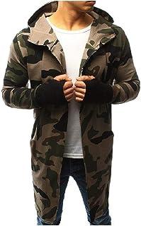 XINHEO Men Windbreaker Cardi Long-Sleeve Patterned Camo Jacket Overcoat