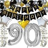 """KUNGYO Clásico Decoración de Cumpleaños -""""Happy Birthday"""" Bandera Negro;Número 90 Globo;Balloon de Látex&Estrella, Colgando Remolinos Partido para el Cumpleaños de 90 Años"""