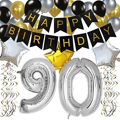 KUNGYO 90 Anni Buon Compleanno Festa Decorazioni Kit - Nero Striscione di Happy Birthday, Pallone 90 in Argento, Stelle Palloncini , Lattice Ballon, Turbinii Appesi