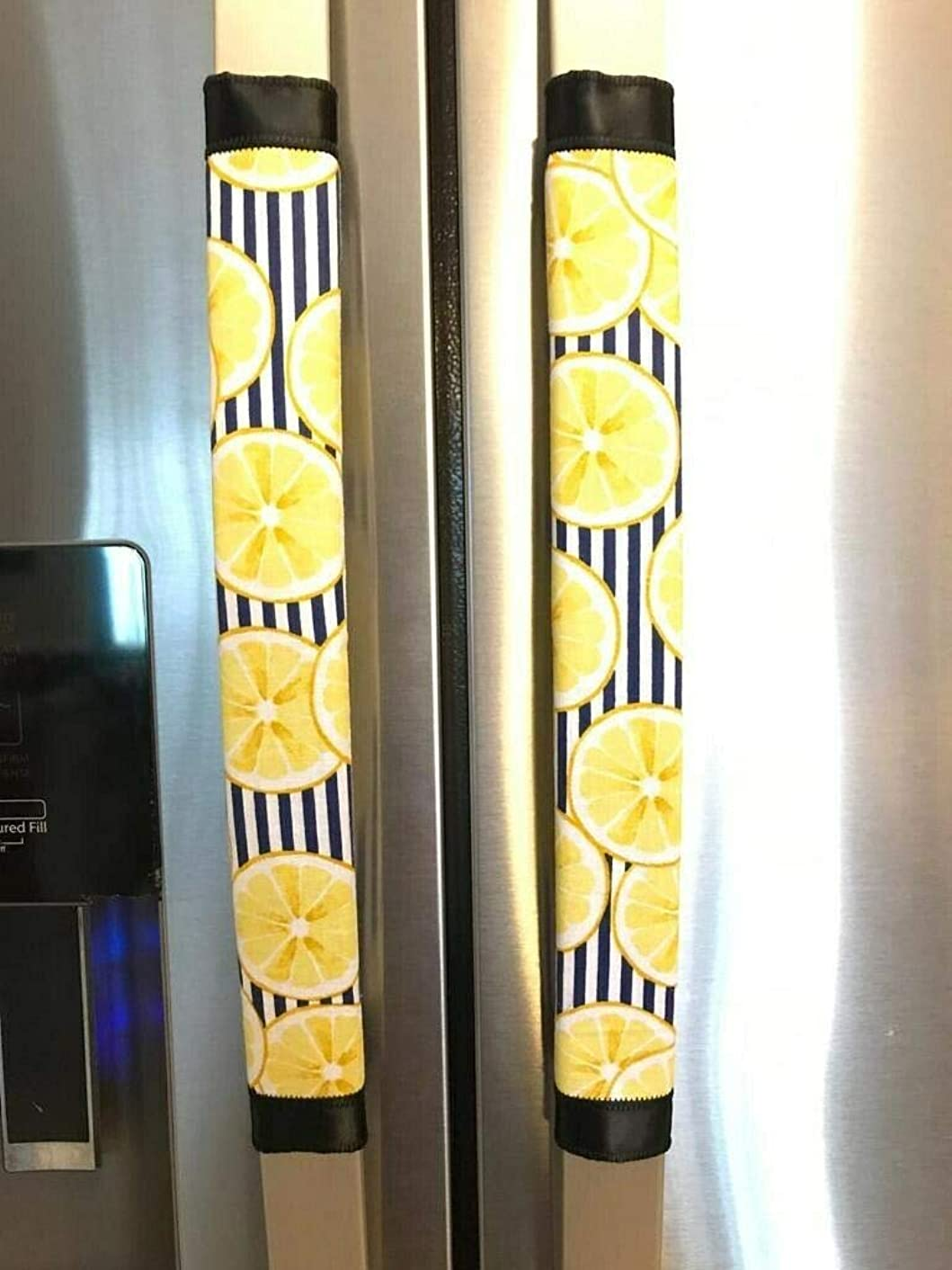 Refrigerator Door Handle Covers Set of Two Lemon Theme 13 Long X 5 Wide