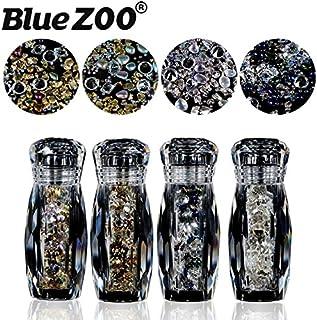 BlueZOO (ブルーズー) 4本/セット クリスタルボトル 不規則なゴールドシルバースタッド + コブルストーン + エルフ ミニビーズ
