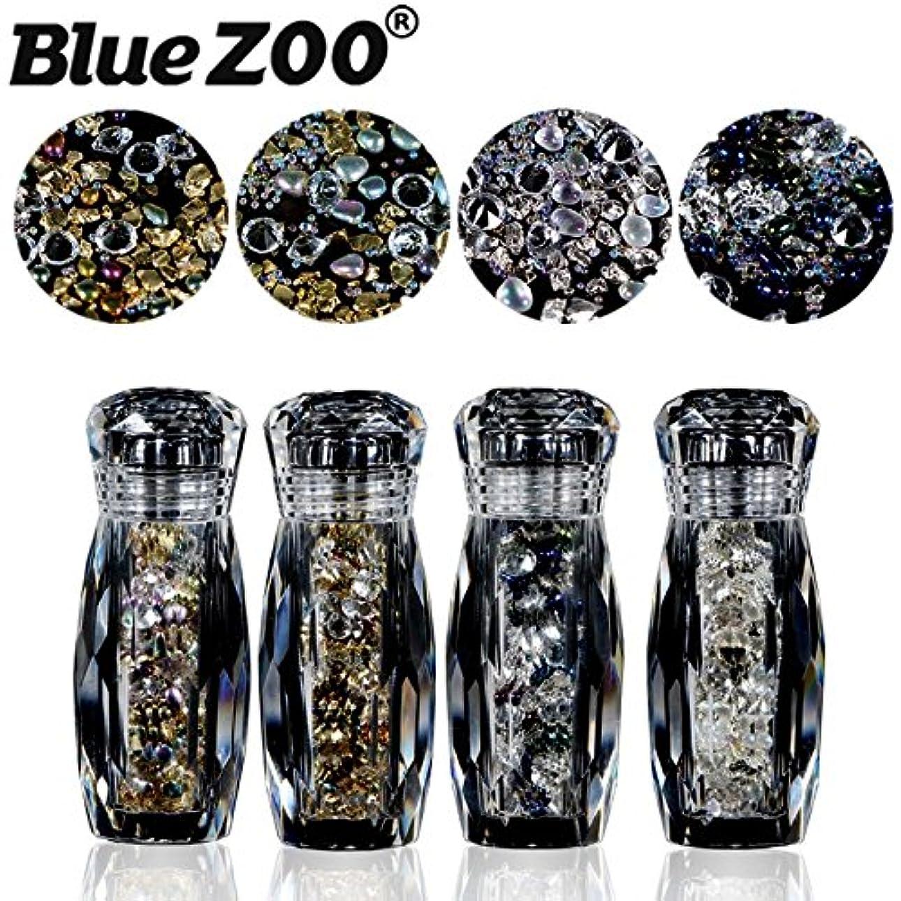 想像力豊かな矢じりドナウ川BlueZOO (ブルーズー) 4本/セット クリスタルボトル 不規則なゴールドシルバースタッド + コブルストーン + エルフ ミニビーズ