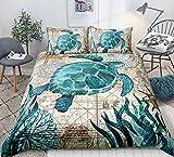 3D Sea Turtle Bedding Set Blue King for Boys Kids Girl Ocean Beach Themed 3 Pcs Duvet Cover Children Teens Retro Tortoise Comforter Cover Hawaiin Turtle Printed Bedspread/Quilt Cover for All Seasons