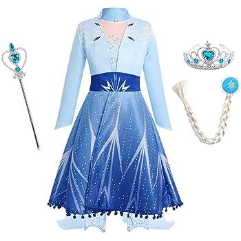IWEMEK Disfraz Elsa Frozen 2 Vestido de Princesa con Abrigo Capa y ...