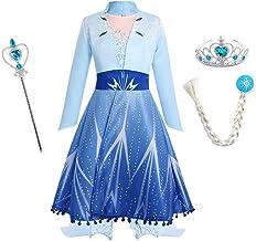 FYMNSI Mädchen ELSA Kostüm Prinzessin Cosplay Partykleid und Zubehör Eiskönigin Eisprinzessin Schneeflocke Maxikleid Karne...