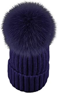Mageed Anna Women Winter Hats Fashion Warm Crochet Knit Thick Beanie Autumn Fox Fur Pompons Bonnet Mink for Female