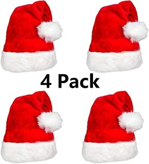 4 Pack Plush Santa Hat Confortable Velvet Red Christmas Hat for Christmas Party Favors Fit for Adults and Kids