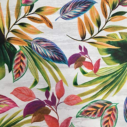 Tela por metros de loneta estampada digital - Half Panamá 100% algodón - Ancho 280 cm - Largo a elección de 50 en 50 cm | Selva tropical - Multicolor