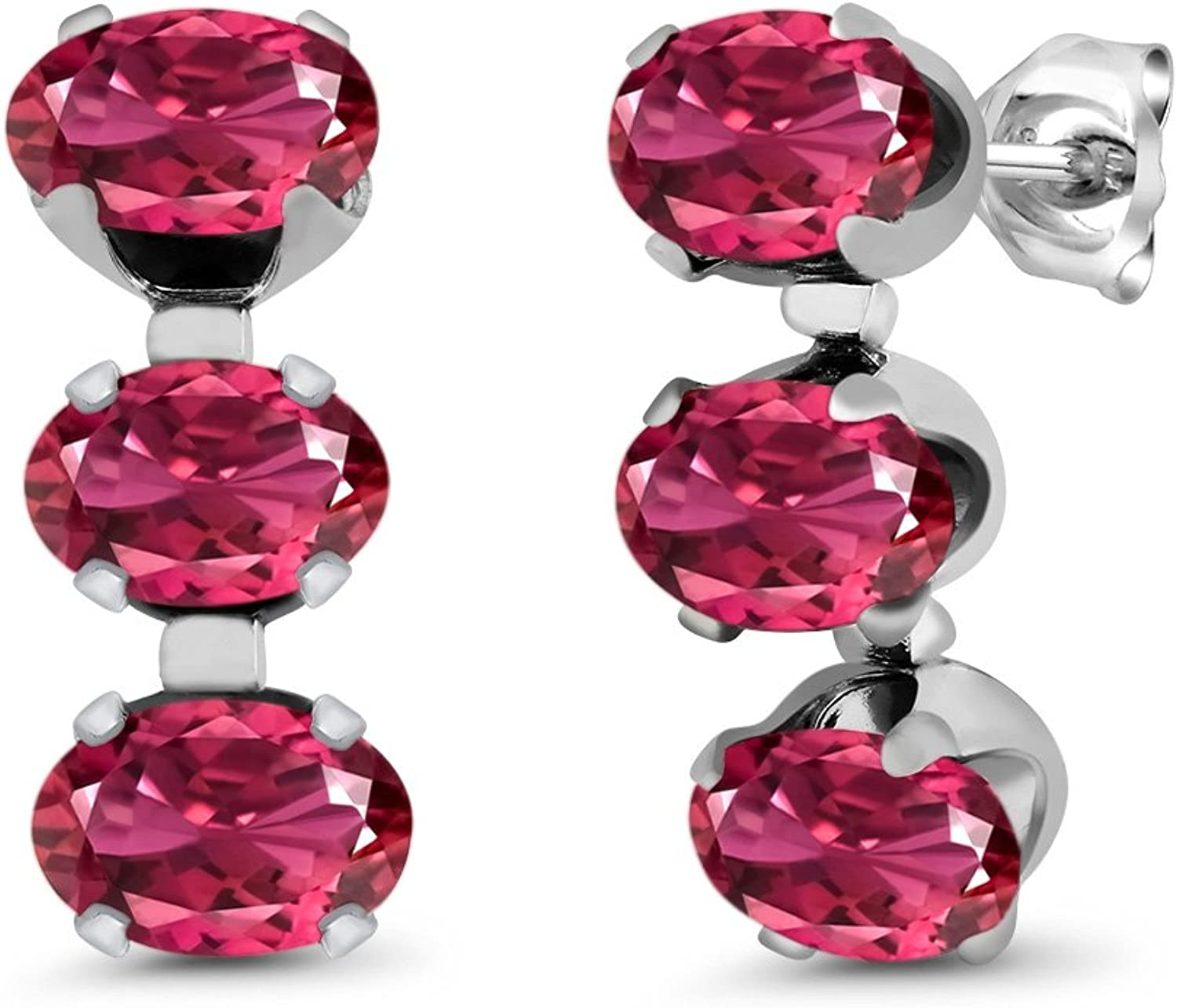 3.00 Ct Oval Pink Tourmaline 925 Sterling Silver 3Stone Earrings