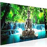 Bilder Buddha Wasserfall Wandbild 200 x 80 cm Vlies -