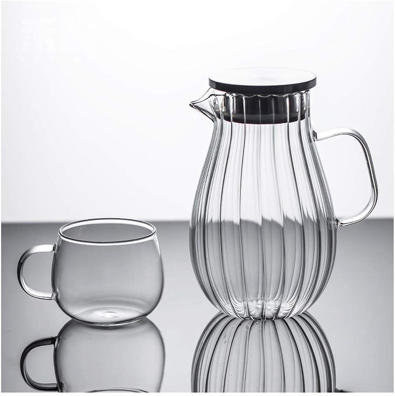 Bouteille d'eau en verre Ménage à haute température de grande capacité Coupe Pot anti-déflagrant Jus de jus Cool blanc Théière ouverte Bouteille d'eau froide XINYALAMP (Couleur   A, Taille   2L)