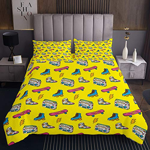 Feelyou Kids Cartoon Bedspread for Girls Boys Children Funny Skateboard Skates Recorder Lightning Pattern Coverlet Set Decorative Pop Art Whimsy Quilted Coverlet Quilted Queen Size 3Pcs