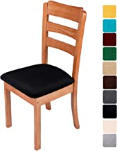 smiry Original Velvet Dining Chair Seat Covers, Stretch Fitted Dining Room Upholstered Chair Seat Cushion Cover, Removable Washable Furniture Protector Slipcovers with Ties - Set of 6, Black